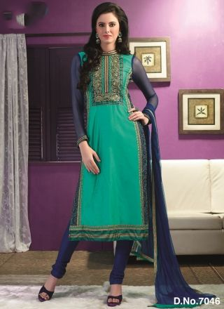 Teal With Blue Embroidery Work Festival Churidar Salwar Suit