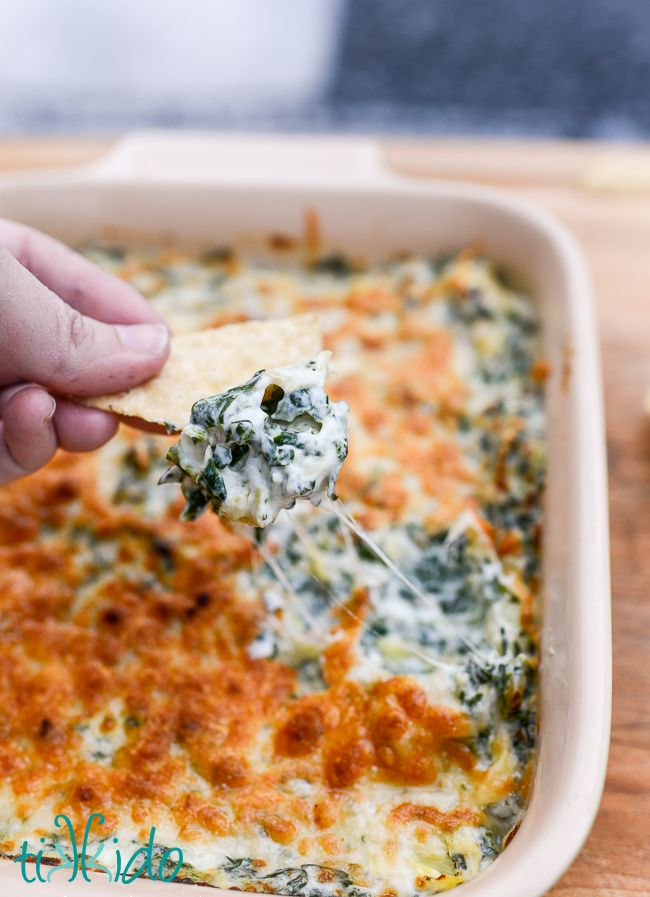 LIGHT spinach and artichoke dip recipe (Weight Watchers).  AND it's absolutely delicious, and our favorite recipe for this classic appetizer dip, despite being healthier!
