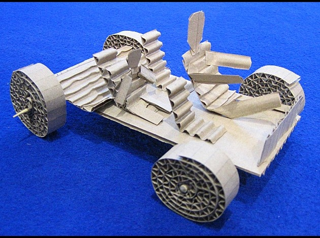 corrugated cardboard car