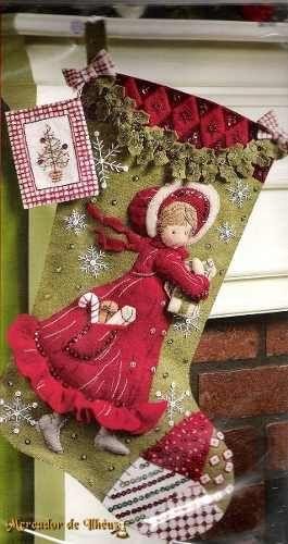 Kit Decoração De Natal Em Feltro Bucilla – Bota Holly. Lindo Kit De Feltro Bota Flocos De Neve Holly Hobbie. 45,7cm