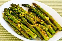 Recipe for Pan-Fried Asparagus Tips with Lemon Juice and Lemon Zest [from KalynsKitchen.com]