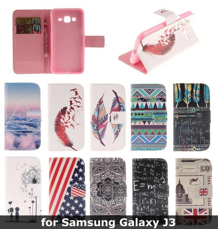 PU Flip Leather Stand Case Cover Wallet With Card Holders for Samsung Galaxy J3 Cell Phone Cases Cover for Samsung Galaxy J3
