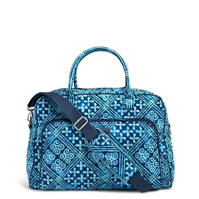 Vera Bradley Weekender Travel Bag Cuban Tiles Blue Teal Large Carry On Nwt