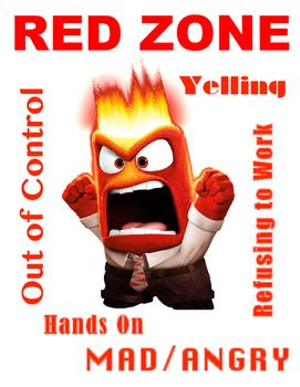 Infuse the Zones of Regulation with Inside Out's Anger. Suggestion: Glue onto a Red Octagon to create a stop sign shape. This will signal to students to STOP when they are in the Red Zone.