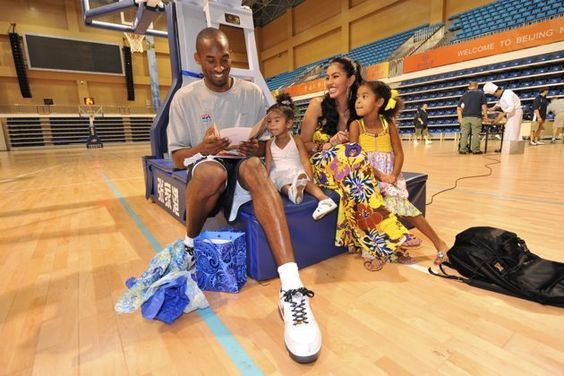 Kobe Bryant #10 of the U.S. Men's Senior National Team celebrates his birthday with his family, Nyla, Vanessa and Natalia during practice at the 2008 Beijing Summer Olympics on August 23, 2008
