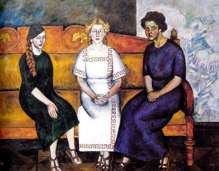 Машков Илья Иванович. Три сестры на диване. Портрет Н.Л. и Е.Самойловых