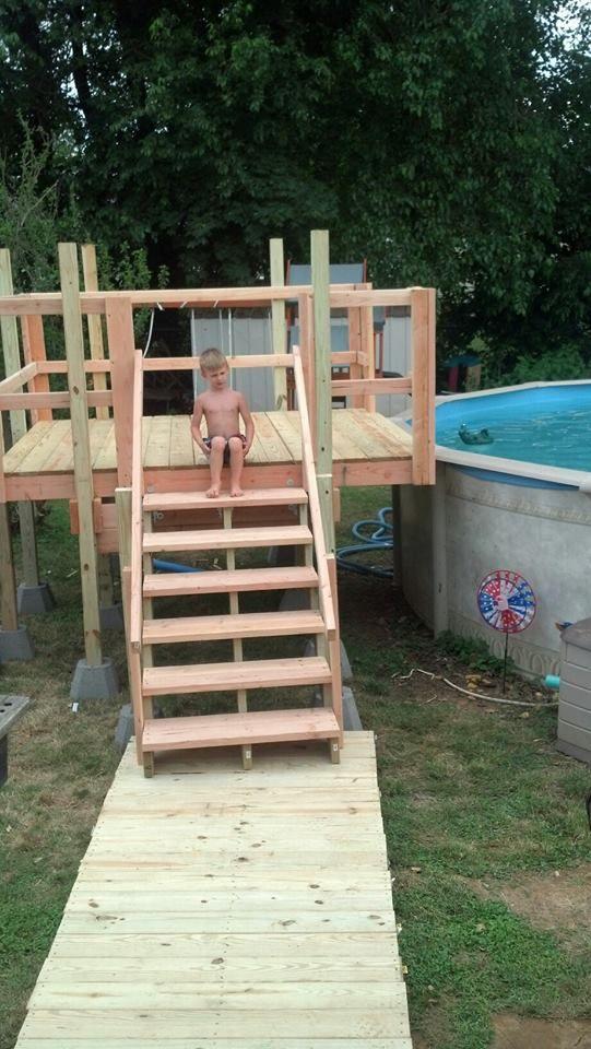 Pool Deck And Walkway Homemade Swimming Pool Decks