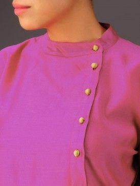 Pink Side Open Yoke Chanderi Kurta