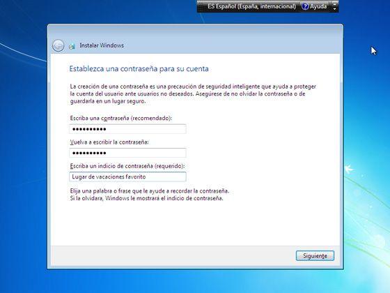 Instalar Windows 7: Elige una contraseña de Windows