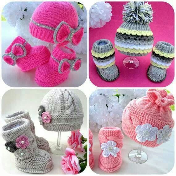 Cute Baby Girl Knits Hats And Booties If Amp When