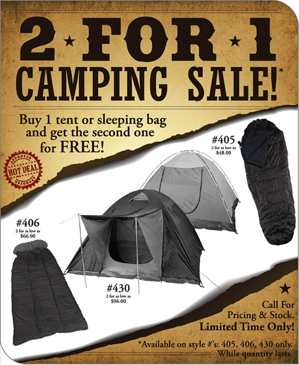 2 for 1 Camping Sale