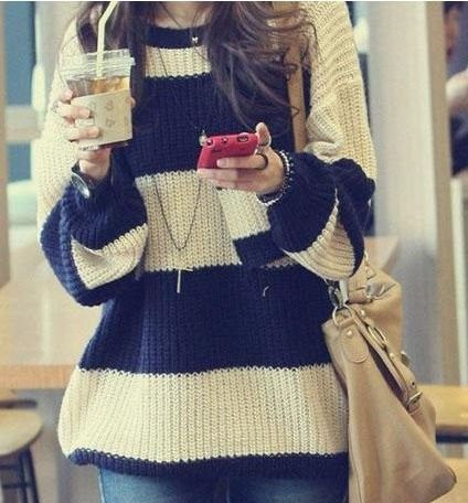Free shipping 2013 Women's Fashion Striped Pullover Crochet Sweater Casual Plus Size Tops Knitted Jumper For Handsome Maternity $11.98
