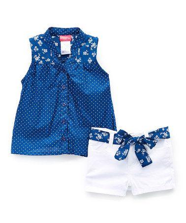Look what I found on #zulily! Navy Polka Dot Sleeveless Button-Up & White Belted Shorts - Girls #zulilyfinds
