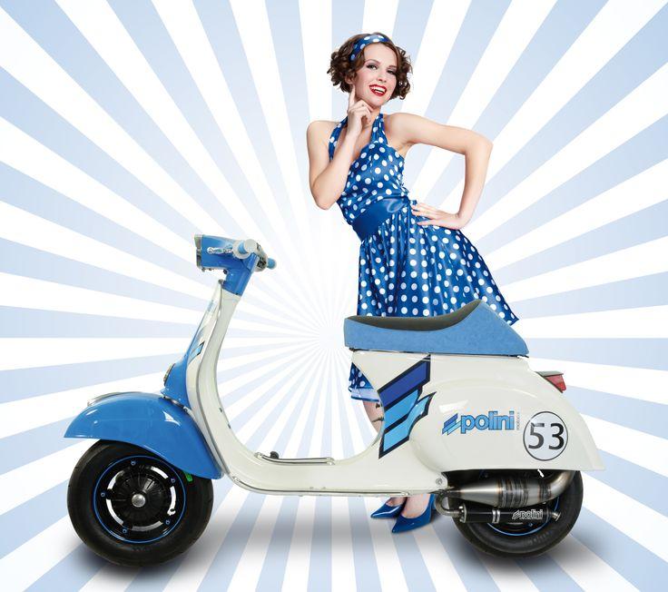 Vespa Polini   #polini #vespa #vespapolini #madeinitaly #tuning #scootertuning #white #blue #bianco #blu #girl #dress #vestito #rockabilly #style #stile #vintage #history #storia #stories #engine #moto