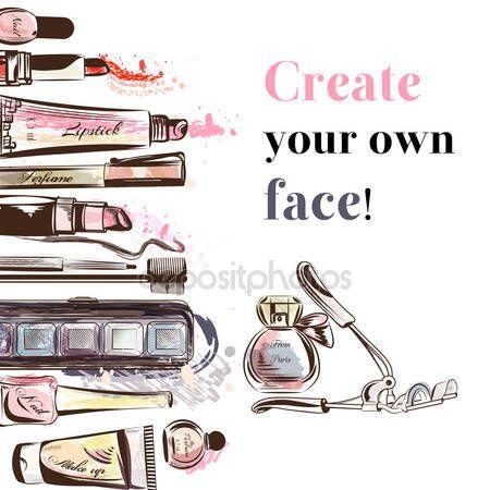 Скачать - Красота и мода вектор акварель Косметика для макияжа художников o — стоковая иллюстрация #91264720