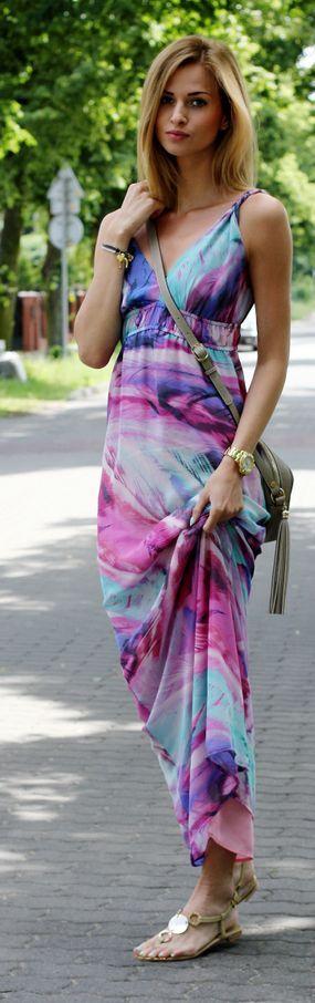 Tk Maxx Multi Coloured Abstract Print Maxi Sundress by Beauty - Fashion - Shopping