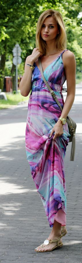Tk Maxx Multi Coloured Abstract Print Maxi Sundress by Beauty - Fashion - Shopping