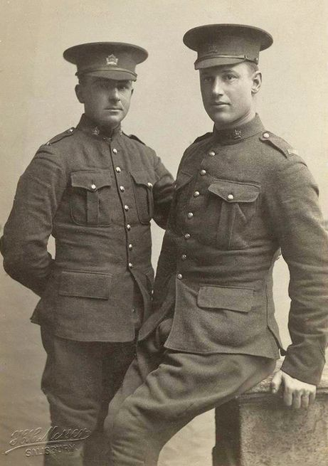 When World War One was declared, Colin Greener, left,  who was five foot three inches tall, was one of the first in line. He joined the First Canadian Expeditionary Force in August 1914 at the age of twenty-three. My grandfather Charles Light was there, too. Together they looked like Mutt and Jeff, because Charlie was a strapping lad of twenty, over six feet tall and an amateur heavyweight boxer. (Notice how the photographer has positioned Charlie so that he isn't towering over Colin.)