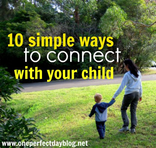 10 simple ways to connect with your child. Each week for the next ten weeks, I'll be sharing one simple idea that you can implement right now, to foster a more connected relationship with your child. Each post will take less than 5 minutes to read and they will be simple enough to do even on the busiest days. My hope is that by the end of the ten weeks, we will be more present for our children and more mindful of the type of parent we want to be. Will you join me?