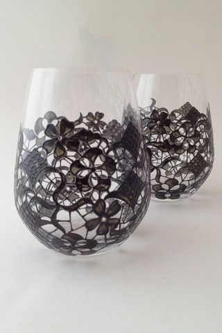 Toasted Glass - Lace Stemless Red Wine Glasses