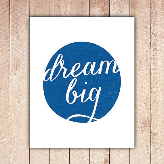 How great would this bright #skyblue print be in a nursery gallery wall?! #BRITAXStyle: Dream Big, Art Prints, Big Printable, Playroom Big Boy, Apartment Ideas, Boy Room, 5 00