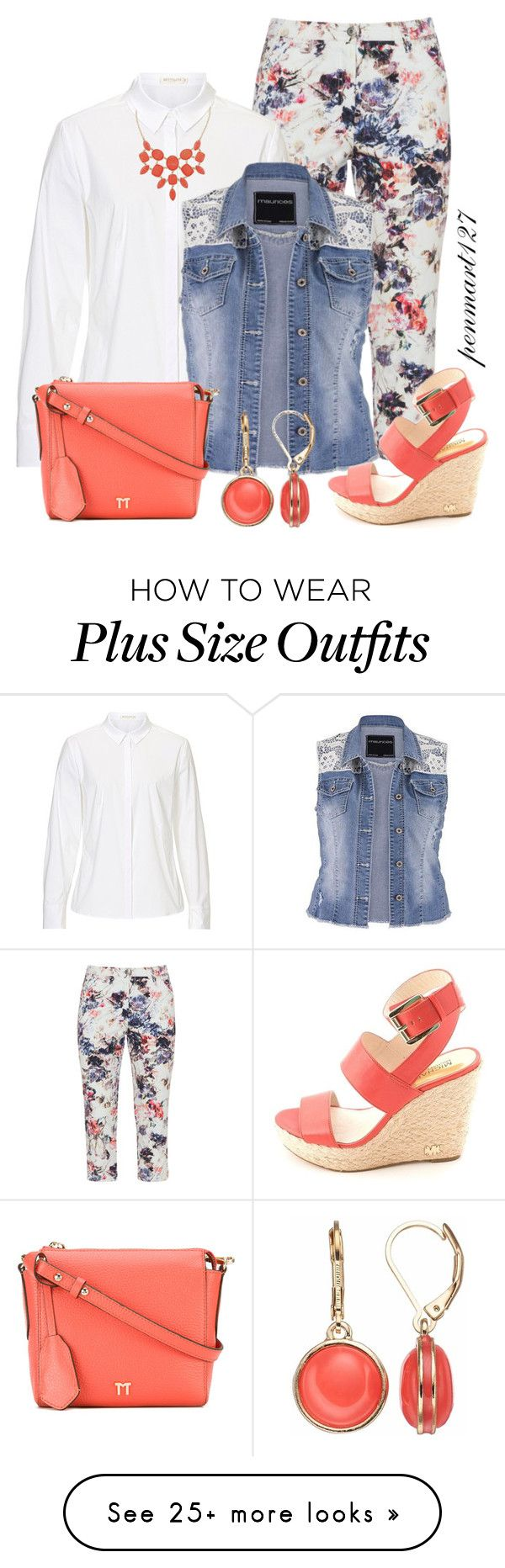 """""""White Shirt for Spring #Plussize"""" by penny-martin on Polyvore featuring KJ Brand, MICHAEL Michael Kors, Tila March, Monet and Napier"""
