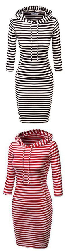 Prance around in true fashion wearing the stripe hooded sweatshirt dress.Capture the moment in this stylish Stripes. Dress up yourself with casual pieces right now! Can Not deny it at www.seaselfie.com !