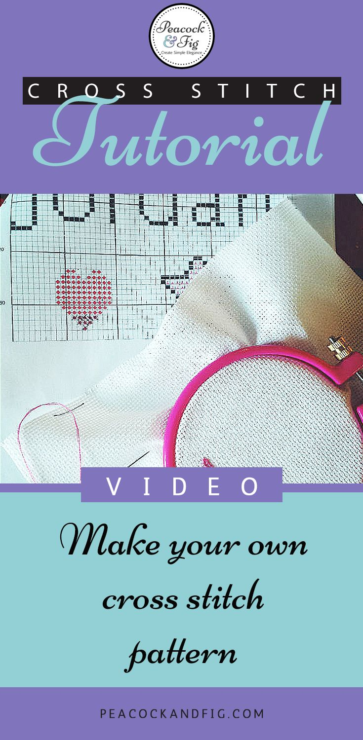 Cross stitch tutorial about how to make your own simple cross stitch pattern (for yourself or for kids)