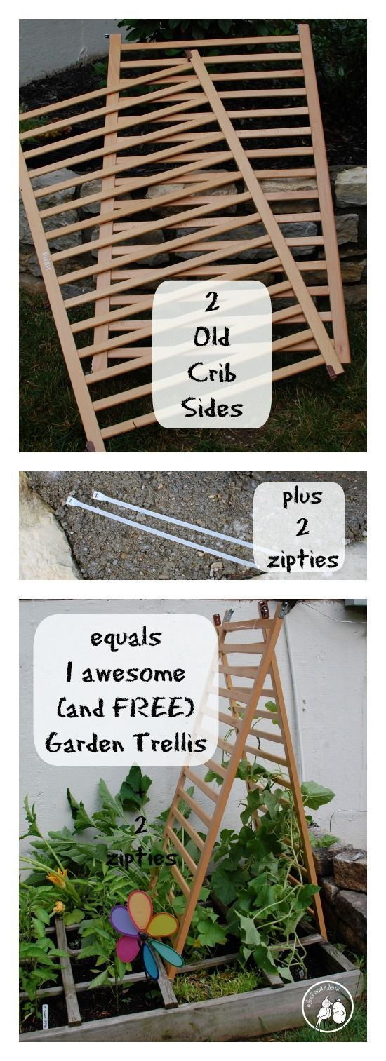 Old Crib to Up-cycled Garden Trellis. We just put the bebe's old crib out for the trash! Maybe I should go rescue it!