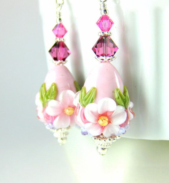 Pink Easter Egg Earrings Easter Jewelry by GlassRiverJewelry
