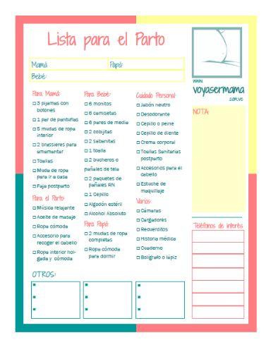 Descarga e imprime la lista de las cosas que debes llevar al hospital para tu parto