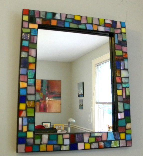 Espejo mosaico de vidrieras de colores de por StarryNightStudios99