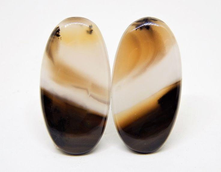 Agata dendritica cabochon coppia 34 x 18 mm, Agata dendritica orecchini, Coppia cabochon ovale per orecchini di HELGASHOP su Etsy