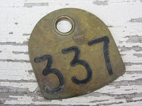 Number 337 Tag Antique Cattle Tag #337 Large Vintage Brass Tag Cow Tag Industrial Tag House Number Apartment Lucky Numbers Keychain Tag A