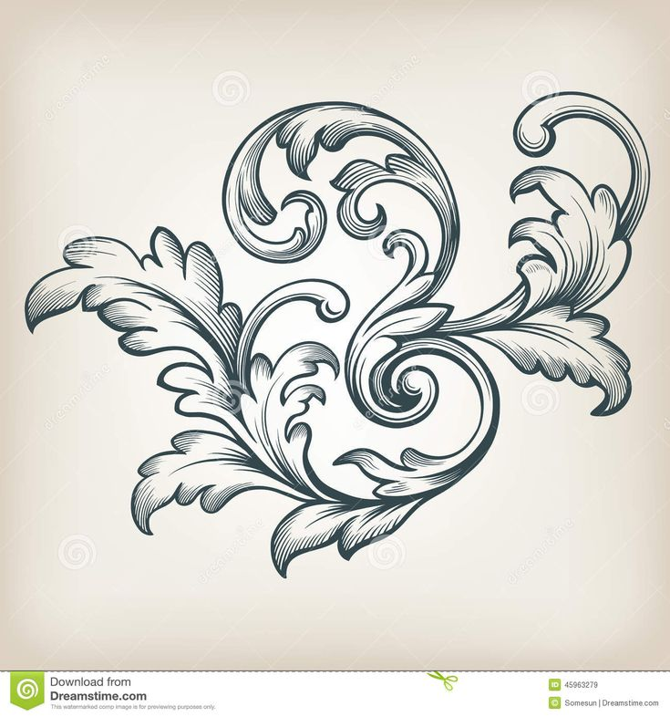 Vector Vintage Baroque Border Scroll Design Stock Vector - Image ...