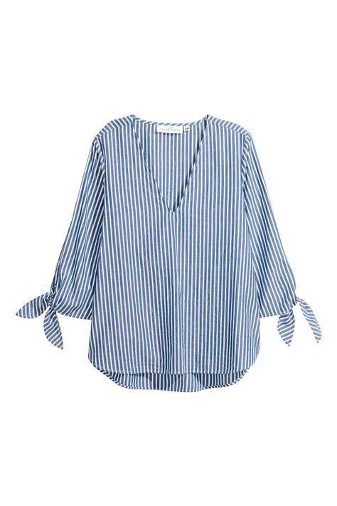 Blusa de rayas - Azul/Rayas blancas - MUJER   H&M ES