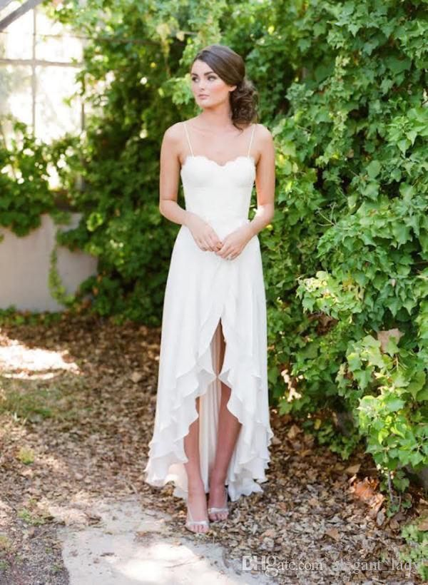 Short Front Long Back Country Wedding Dresses 2019 Sweetheart Chiffon High Low Bridal Gowns Cheap Beach Wedding Reception Dress Weddings & Events