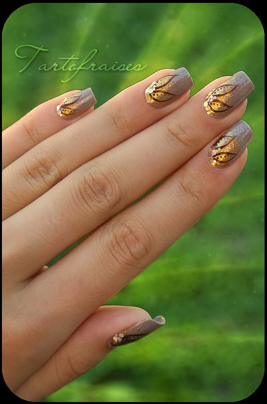 nail art brown flowers by ~Tartofraises on deviantART