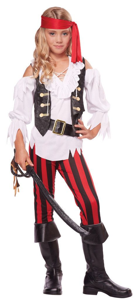 Posh Pirate Child Costume Includes: white shirt with attached printed vest…