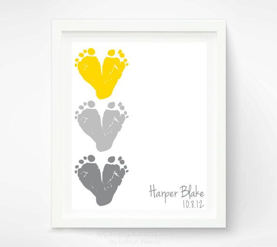 Yellow & Gray Nursery Decor - Baby Footprint Hearts - Baby Wall Art - Childrens Art - Personalized Kids Wall Art - Playroom Art