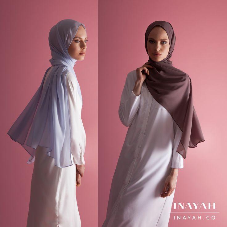 INAYAH | Fashion forward summer looks - White Textured Layered #Midi + Pale Blue Soft Crepe #Hijab + White Batwing Sleeve #Shirt + Dusty Ash Soft Crepe #Hijab - www.inayah.co