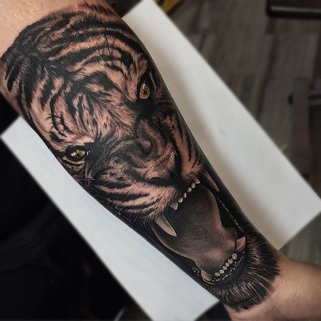 Forearm tiger tattoo done at @Inkaholik Tattoos in8367 SW 40th St, Miami, FL 33155.