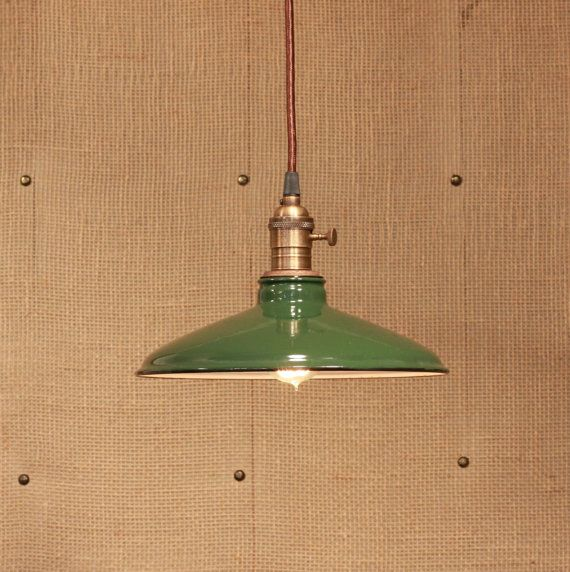 Factory Lighting with Vintage Green Enamel by lucentlampworks....just ordered this in black with a black cord and antique brass canopy!!