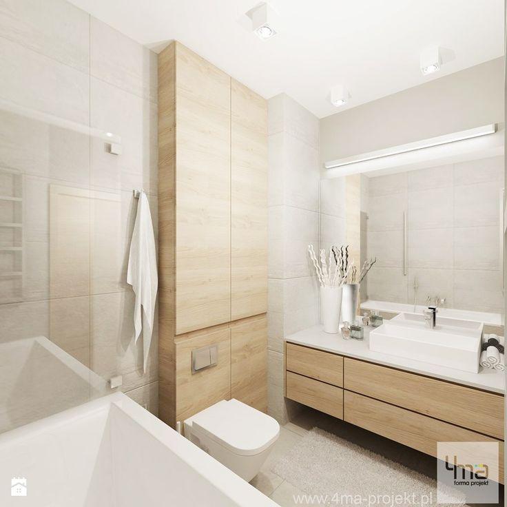Projekt mieszkania 53 m2 na Żoliborzu - Średnia łazienka, styl nowoczesny…