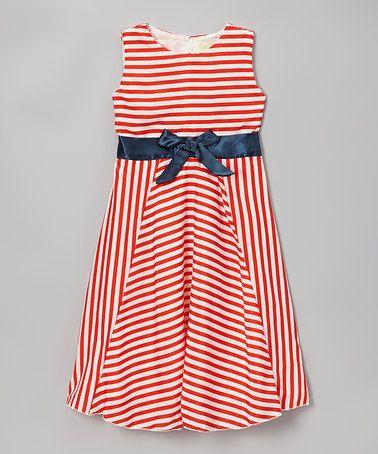 Look at this #zulilyfind! Red Stripe Chiffon Sash Dress - Toddler & Girls #zulilyfinds