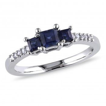 10k White Gold 3/5 Carat T.G.W. Sapphire and 0.05 Carat T.W. Diamond Three-Stone Engagement Ring - Sapphire (September) - Gemstones - by Samuels Jewelers