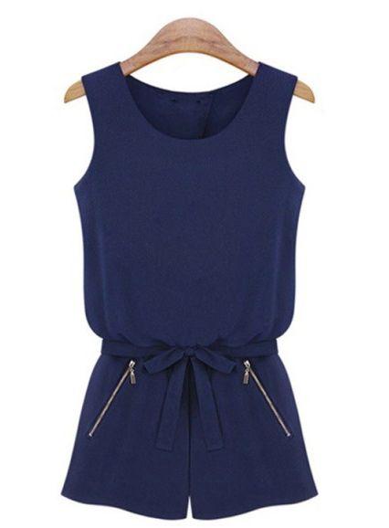 Navy Sleeveless Backless Bowknot Jumpsuit US$18.30