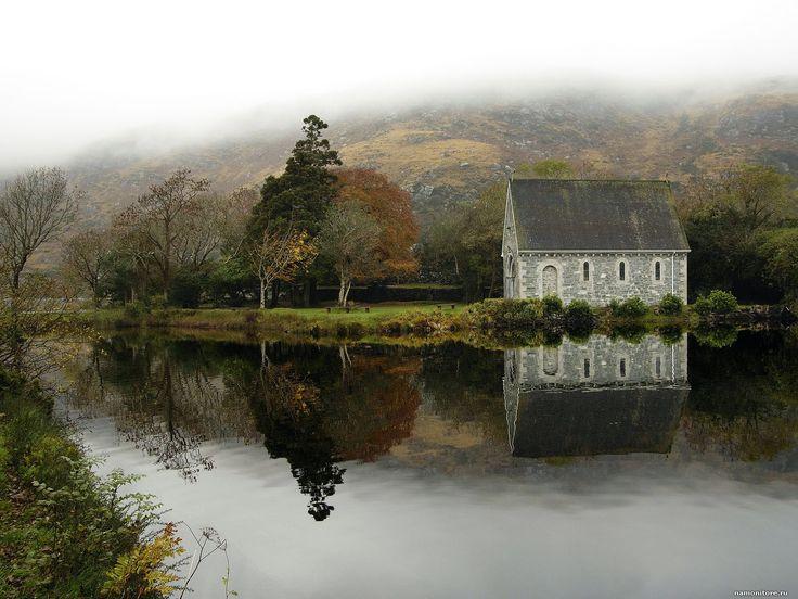 Ирландия. Графство Корк, Англия, города и страны, Европа, Ирландия, озеро, осень, туман 1600х1200