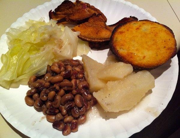 Fried hog jowl, cornbread, potatoes, black-eyed peas and cabbage