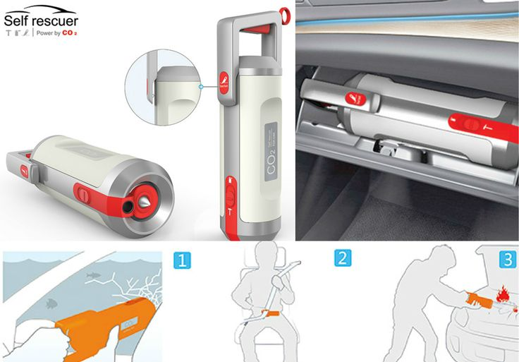 """Cars are supposed to be watertight hence self-rescuing in the case of a car-water-drowning situation can get sticky. The """"Self Rescuer"""" is a self-rescuer specially designed for this situation. It has three functions: cutting seat belt, breaking windows with pneumatic hammer, and extinguish fire with CO2. Simply deploy the window breaking mechanism and save yourself!"""